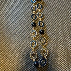 Lia Sophia blue and gold long necklace
